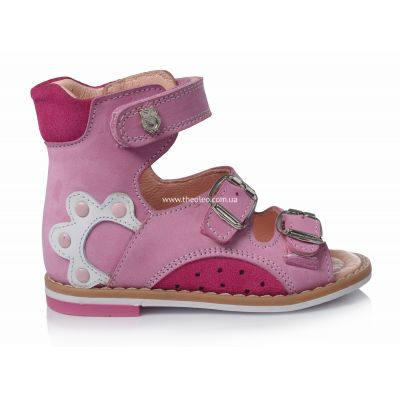 Ортопедические босоножки 103 | Белая детская обувь 18 размер из нубука