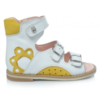 Ортопедические босоножки 164 | Белая детская обувь 2 года из нубука
