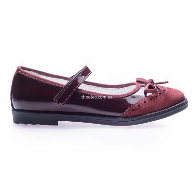 Туфли для девочек 252 | Бордовая детская обувь 31 размер из нубука