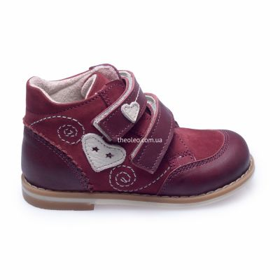 Ботинки для девочек 262 | Бордовая детская обувь 2 года из нубука