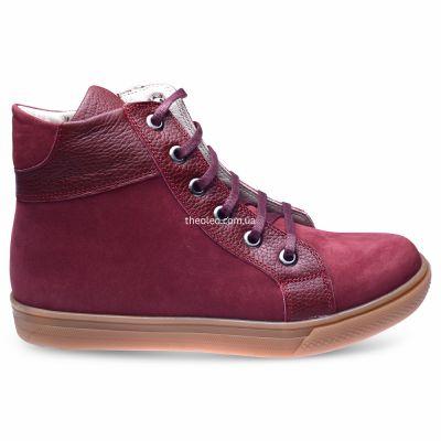 Ботинки для девочек 281 | Бордовая демисезонная детская обувь 23 см