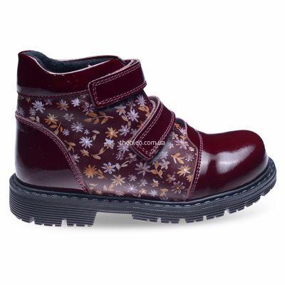 Ботинки для девочек 283 | Бордовая осенняя детская обувь 18,3 см