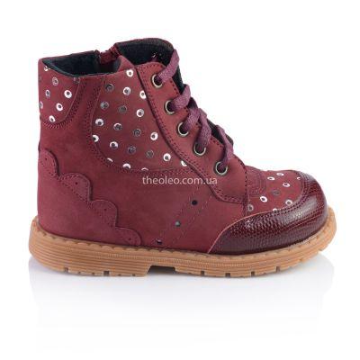 Ботинки для девочек 323 | Бордовая обувь для девочек, для мальчиков 6 лет
