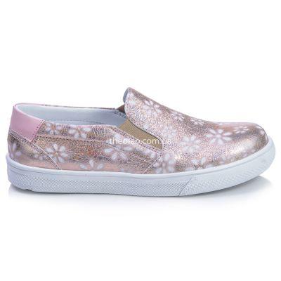 Слипоны для девочек 416 | Белая детская обувь 12 лет 34 размер