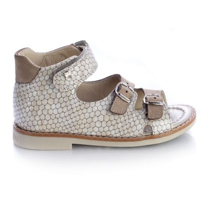 Босоножки для девочек 468 | Бежевая детская обувь 26 размер из нубука