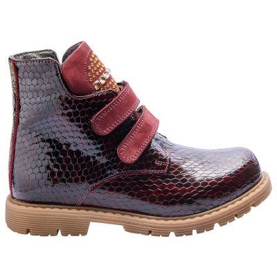 Ботинки для девочек 597 | Бордовая детская обувь 11 лет 17,8 см