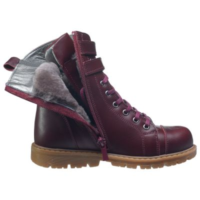 Зимние ботинки для девочек 630 | Бордовая детская обувь 11 лет 21,5 см