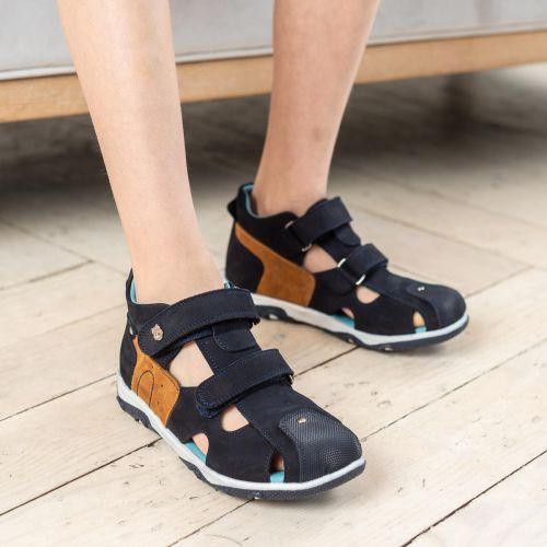 Босоножки для мальчиков 675 | Детская обувь из нубука оптом и дропшиппинг