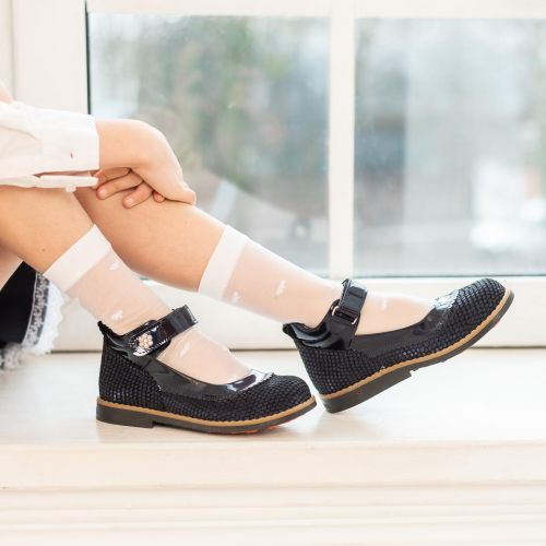 Туфли для девочек 961 | Детская обувь из нубука оптом и дропшиппинг